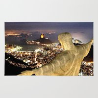christ Area & Throw Rugs featuring Christ the Redeemer ✝ Statue  by Barrier Style & Design