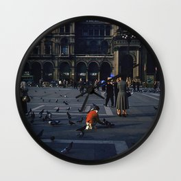 Vintage Color Photo * 1940's * St Mark's Square * Venice * Feeding Pigeons * 1950's Wall Clock