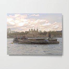 Thames Barges in Springtime Metal Print