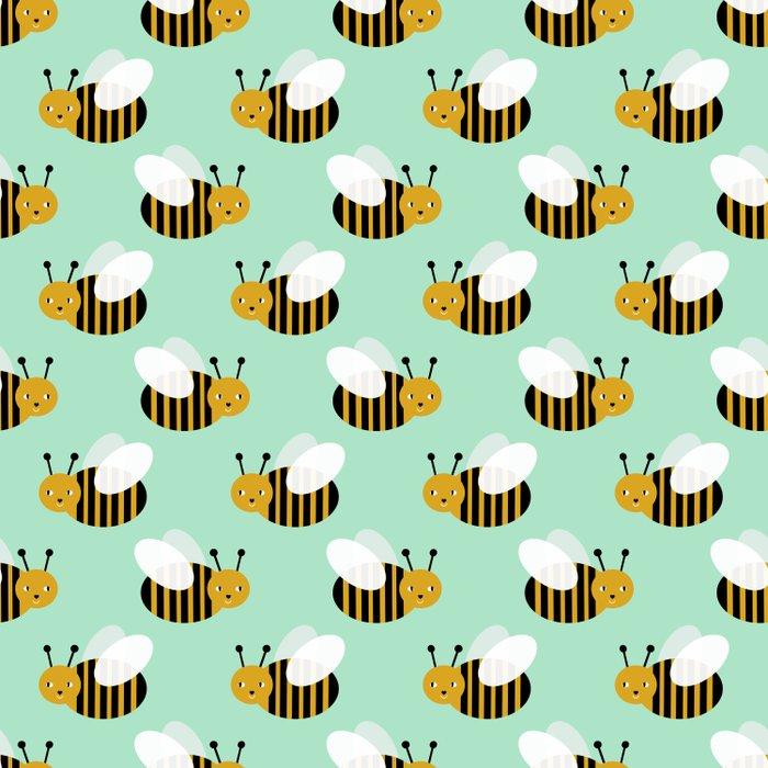 Bee pattern print mint honey bees nature inspired cute nursery kids gender neutral pattern Comforters