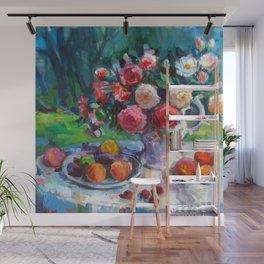 Fruits & Rose Flowers Wall Mural