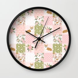 Corgi Patchwork Print - blush,florals , floral, spring, girls feminine corgi dog Wall Clock