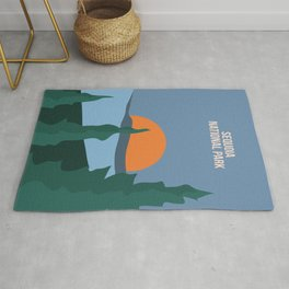Green Trees Of Sequoia National Park Rug