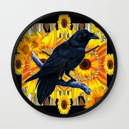 GRAPHIC BLACK CROW & YELLOW SUNFLOWERS ABSTRACT Wall Clock