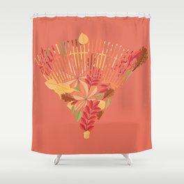 Autumn fallen leaves with rake design illustration Shower Curtain