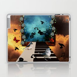 Music, piano with birds and butterflies Laptop & iPad Skin