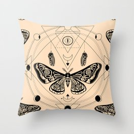 Moth. Sacred geometry Throw Pillow