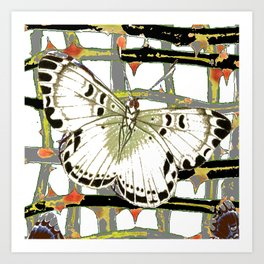 #2 PURPLE-WHITE MOTHS  ON BLACKTHORN LATTICE BRANCHES ART Art Print