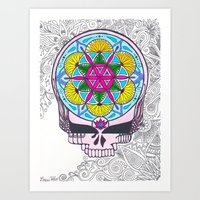 grateful dead Art Prints featuring Grateful Dead Sacred Geometry Stealie by Gracie Holder