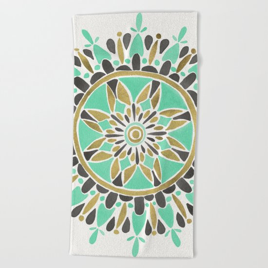 Mint & Gold Mandala Beach Towel