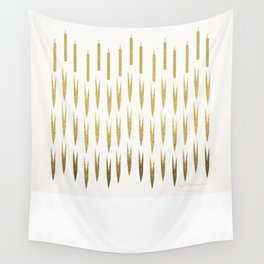 Gold Cattails Wall Tapestry