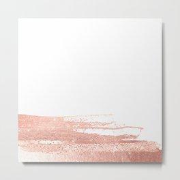 Rosegold brush strokes on white Metal Print