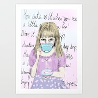 How Cute is it When You See, A Little Girl Drinking Tea! Art Print
