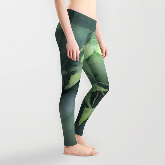 Japanese Maple Watercolor Green Leaves Tree Branch Nature Leggings