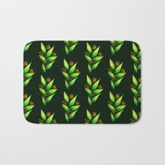 Abstract Watercolor Green Plant With Orange Berries Bath Mat