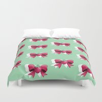 mew Duvet Covers featuring Strawberry Bow by milksuds