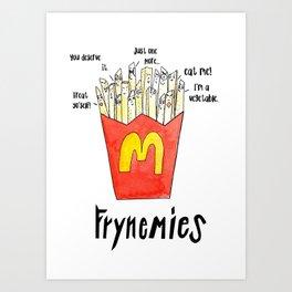 Frynemies, Frenemy, French Fries, Food Art, Funny Art, Illustration, Watercolor, Handlettering. Art Print