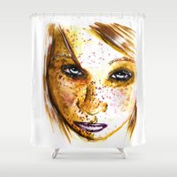 redhead Shower Curtains featuring Redhead Girl by Siriusreno