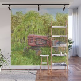 Old Massey Harris 55 tractor in rural France Wall Mural