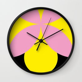 Four-Leaf-Clover in pink, hiding a Black Circle in a yellow background Wall Clock