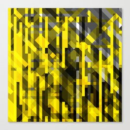 abstract composition in yellow and grays Canvas Print
