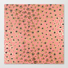 Chic Faux Gold and Black Cheetah Print on Coral Canvas Print
