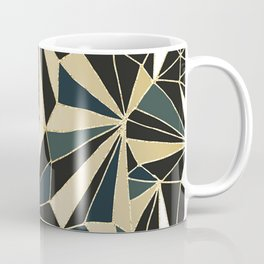 New Art Deco Geometric Pattern - Emerald green and Gold Coffee Mug