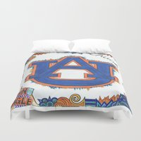 chuck Duvet Covers featuring Auburn for Chuck by Vera Hughes
