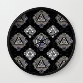 Sacred Geometry Onyx Black Resonance Mandala Pattern Wall Clock