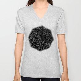 White on Black Crackle Unisex V-Neck