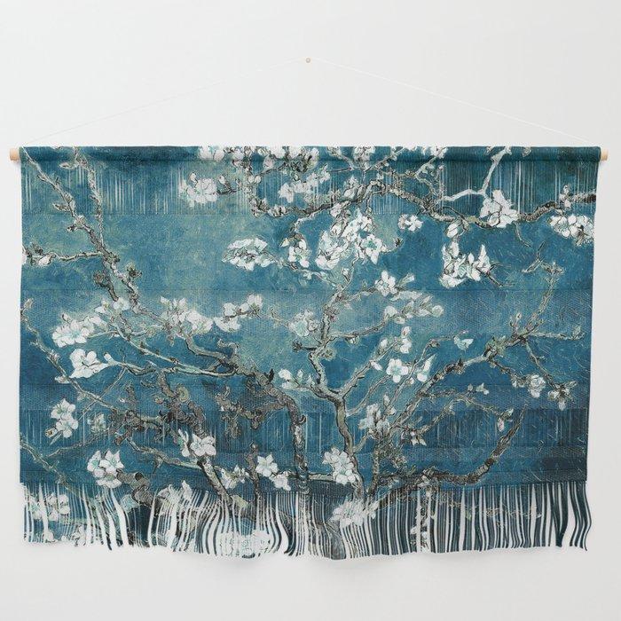Van Gogh Almond Blossoms : Dark Teal Wall Hanging