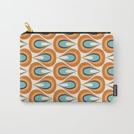 Retro Mid Century Modern Geometric Flame in Orange and Turquoise Carry-All Pouch