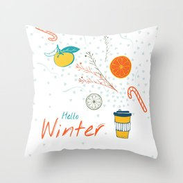 Hello Winter! Cup of warm winter drink Throw Pillow