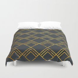 Diamond Art Deco; - Black & Gold Duvet Cover
