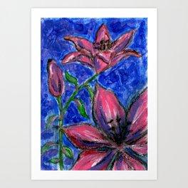 Pink Lilies Charcoal Acrylic Painting Art Print