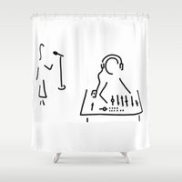 engineer Shower Curtains featuring sound engineer studio admission mixing writing desk by Lineamentum