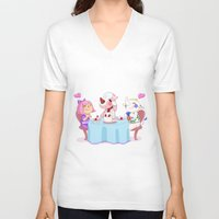 animal crossing V-neck T-shirts featuring Animal Crossing :: Cake time by Thais Magnta Canha