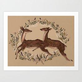 Jumping Deer Art Print