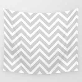 Chevron Stripes : Gray & White Wall Tapestry