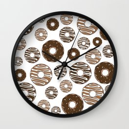 Donut Pattern, Chocolate Donuts, Caramel Donuts Wall Clock