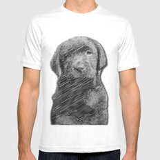 labrador puppy Mens Fitted Tee White MEDIUM