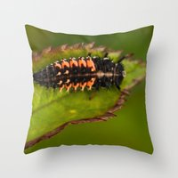 bug Throw Pillows featuring Bug by Wealie