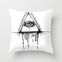 all seeing eye Throw Pillows featuring All Seeing Eye  by Emalee Røse