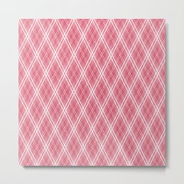 Nantucket Red & White Scots Argyle Check Plaid Metal Print