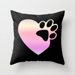 Cute Heart Paw Print design Funny Love Gift For Cat Owners Throw Pillow