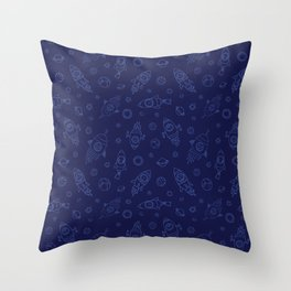 Space Animals light blue on dark blue Throw Pillow