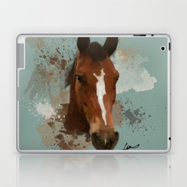 Brown and White Horse Watercolor Light Laptop & iPad Skin