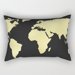 Gold Rush World Map on Black Rectangular Pillow