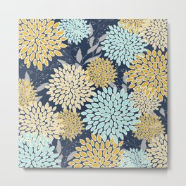 Floral Prints and Leaves, Navy Blue, Aqua, Yellow and Gray Metal Print