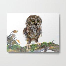 Adorable Baby Owl Watercolor Metal Print